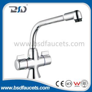 Deck Mount Cheap Chrome Kitchen Dual Handles Sink Faucet Mixer pictures & photos