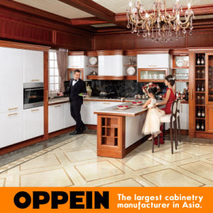 Oppein L Shape Cherrywood Solid Wood Kitchen Cabinet (OP15-056) pictures & photos