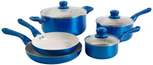 Amazon Vendor 8 Piece Nonstick Ceramic Cookware Set Blue pictures & photos
