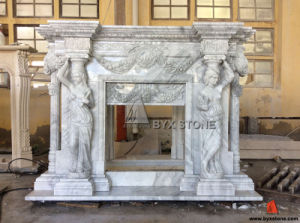 Bianco Carrara White Marble Fireplace Mantel with Lady Statues pictures & photos