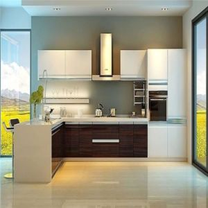 Solid and Wooden Grain Lacquer Kitchen Furniture pictures & photos