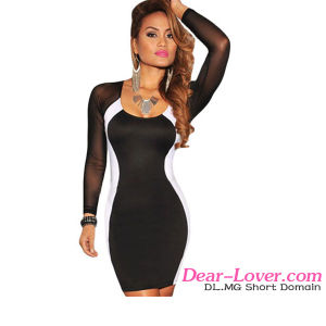 Fashion Black White Mesh Long Sleeves Evening Cocktail Bodycon Dress pictures & photos