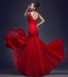 Red Wedding Dress Sleeves Lace Chiffon Prom Party Gowns E52732 pictures & photos