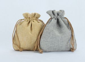 Linen Drawstring Jewellery Pouches with Velvet Backing pictures & photos
