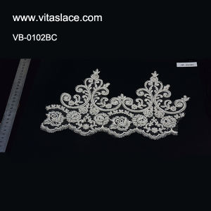 Hot Sale Corded & Beaded Lace Trim for Wedding Dress Vb-0102bc