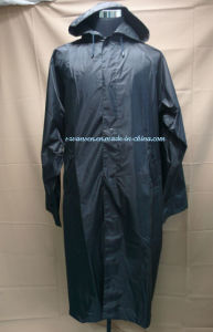 Black Breathable&Waterproof Long PVC Raincoat with Hood pictures & photos