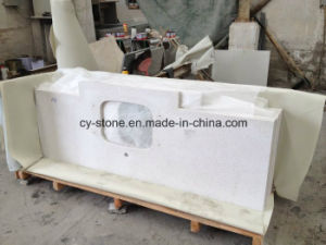 White Artificial Stone Quartz Bathroom Vanity Tops for Hotel/Commercial Project with Sinks pictures & photos