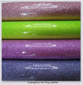 High Qualith PU Glitter Leather for Bag (HX-103) pictures & photos