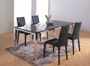 Modern Europe Luxurious Marble Top Stainless Steel Foot Dining Furniture Set (NK-DT078)