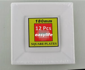 7′′ (18cm) S071819 Disposable PS Plastic Colorful Square Plate pictures & photos