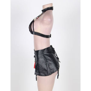 New Design Hot Lady Underwear Sexy Leather Bra Set Teddy Lingerie (R80229) pictures & photos