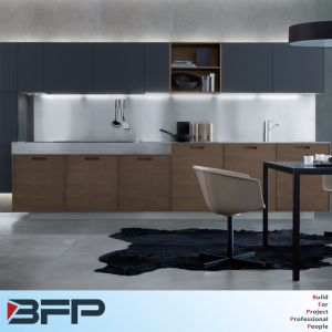 Small Cheap Kitchen Design Dark Color Cabinet with Sink Faucet Aluminum Kicker pictures & photos