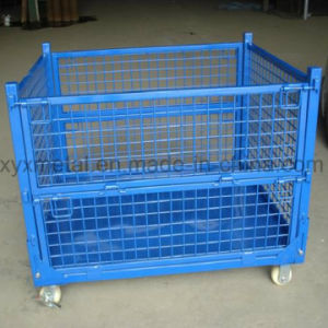 Warehouse Storage Folding Stacking Steel Wire Mesh Container with Casters pictures & photos