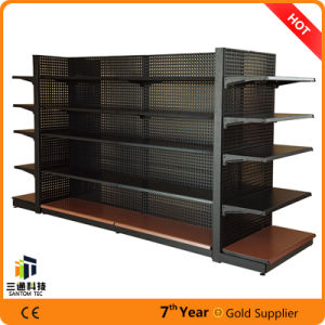 Single Side Back Plain Gondola Supermarket Shelf with Fence pictures & photos
