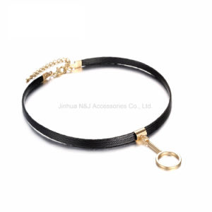 Gothic Style Charms Tattoo Choker Necklaces for Women & Ladies Black Faxu Leather Brand Jewelry pictures & photos