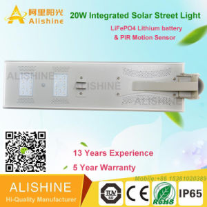 20W Solar Garden Street Light with Solar Panel, Controller and LiFePO4 Lithium Battery pictures & photos