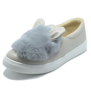Rabbit Plush Rubber Injection Student Women Animal PU Shoes pictures & photos