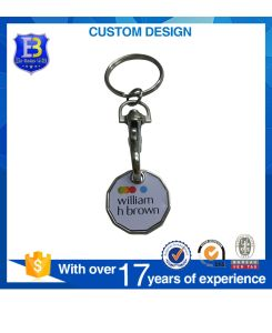 2017 UK New 12 Sides Shape Trolley Coin Key Chain with with Cmyk Aluminum Printed Decals pictures & photos