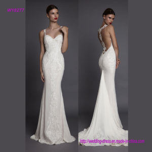 Sexy Back Design and Noble Embroidery Spaghetti Strap Mermaid Wedding Gown pictures & photos