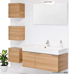 Three Cases with Single Basin Woodgrain Wall Bathroom Cabinet pictures & photos