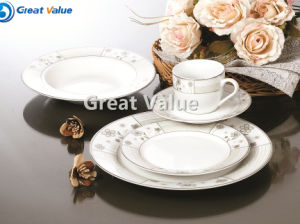 Simple Gold&Silver Design Custom Logo Porcelain Tableware Plate for Home Use pictures & photos