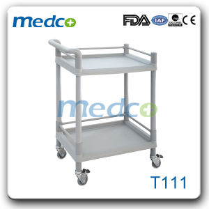 Two Layers ABS Medical Treatment Trolley with Drawer pictures & photos