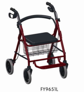 Aluminum Rollator with Seat and Wheels and Flip up Footrest pictures & photos