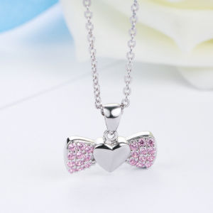 100% 925 Sterling Silver Sweet Heart Bowknot Pink Crystal Pendants Necklace pictures & photos