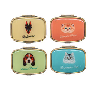 Fashionable Small Square Weekly Metal Pill Storage Box Case Timer pictures & photos