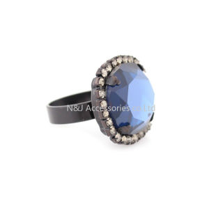 Top Fashion Alloy Pretty Blue Rings for Women Square Shape Charm Ladies Stone Jewelry pictures & photos