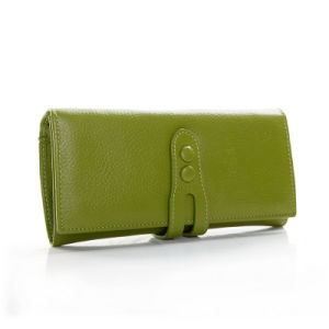 Lady Genuine Leather Clutch Fashion Cowhide Long Travel Wallet pictures & photos