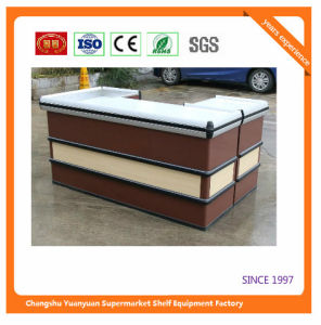 Supermarket Retail Stainless Cash Counter with Conveyor Belt 1052