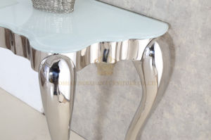 Factory Supply Home Furniture White Glass Stainless Steel Console Table pictures & photos