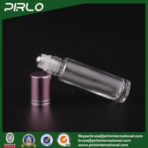 10ml Clear Glass Roll on Bottle with Metarial Roller and Red Cap pictures & photos