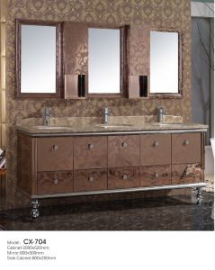 Hotel Use Stainless Steel Bathroom Vanity with Triple/Three Sink/Basin pictures & photos