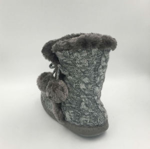 Multi Knit Pompom Boots for Lds