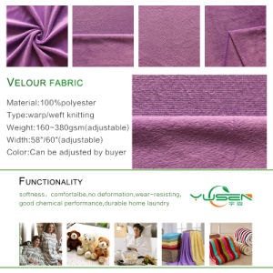 Hot Wholesale 100% Polyester Super Soft/Short Hair Velour Knitting Fabric pictures & photos
