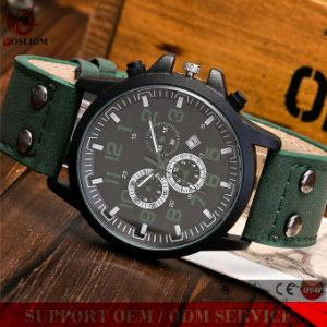 Y≃ L-549 Fashion Stainless Steel Case Double Bu⪞ Kle Leather Belt Men Wrist Quartz Sport Wat⪞ H pictures & photos
