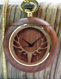 2017 Hot Sale Unique Wood Watch Pocket Watches with Chain pictures & photos
