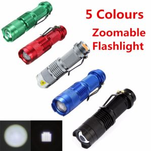 5 Color CREE Q5 LED 1000lm Waterproof LED Flashlight Torch 5 Modes Zoomable Adjustable Focus Lantern Portable Flashlight Use AA 14500 pictures & photos