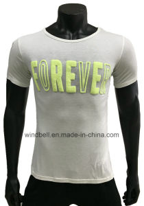 Slim Light T-Shirt for Men with Puff Print pictures & photos
