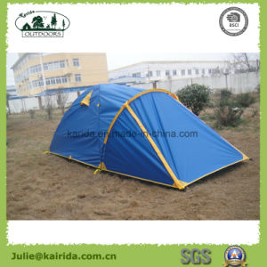 2p 2 Layers 3 Poles Camping Tent with Extension pictures & photos