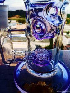 9 Inch Purple Clear Glass Smoking Handblown Glass Water Pipe pictures & photos
