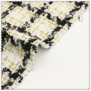 Blended Colors 100% Polyester Woolen Checks Fabric pictures & photos