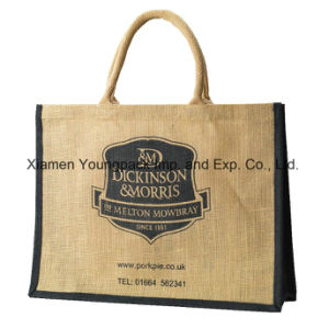 Promotional Custom Printed High Quality Large Reusable Jute Shopper Bags pictures & photos