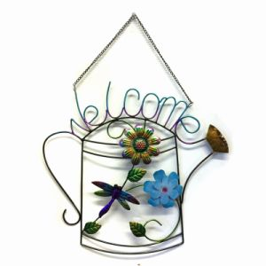 """Special Cloth Flower Decorated Metal Wall """"Welcome"""" Garden Decoration pictures & photos"""