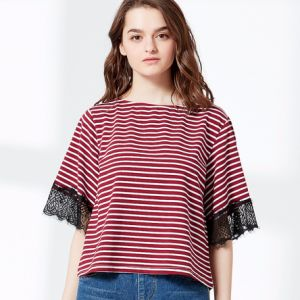 Fashion Coloured Striped Single Jersey T-Shirt with Lace pictures & photos