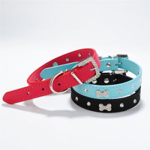 Quality PU Leather Luxury Rhinestone Bones Pet Collars and Leads pictures & photos