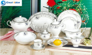 49PCS Round Dinner Set with Gold Inprint, White Porcelain Table Ware Hotel pictures & photos
