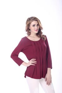 3/4 Sleeve Elegant Plus Size Wine Red Blouse Patterns Fashion Blouse for Lady pictures & photos